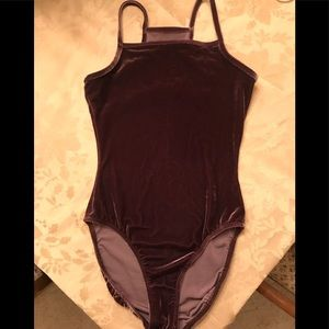 Tops - Velour Body Leotard  Chocolate Brown Small